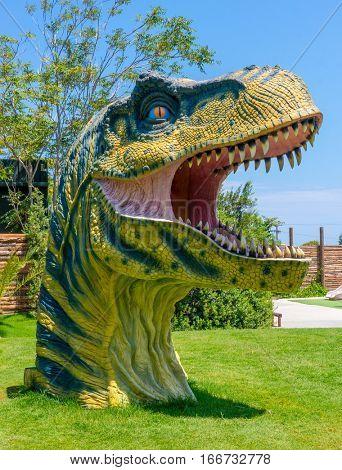 Heraklion, Greece - July 23, 2014: Tyrannosaurus Rex Dinosaur head in jurassic Park theme