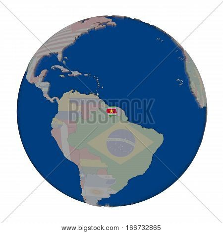 Suriname On Political Globe