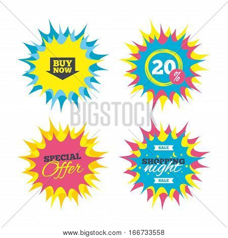 Shopping offers, special offer banners. Buy now sign icon. Online buying arrow button. Discount star label. Vector