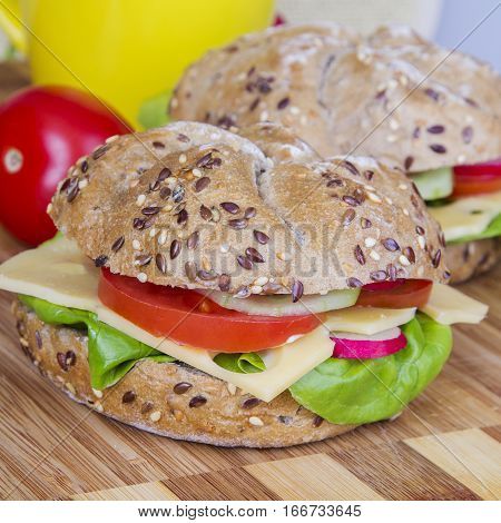 Tasty vegetarian wholemeal sandwich with fresh vegetables