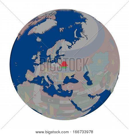 Belarus On Political Globe