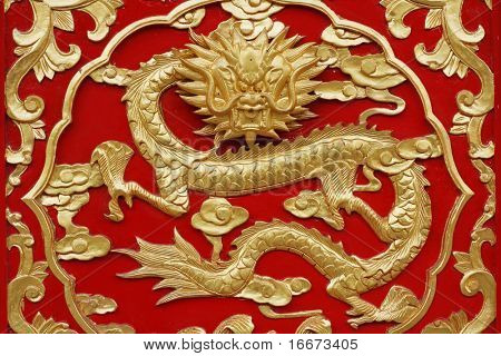 dragon with red background