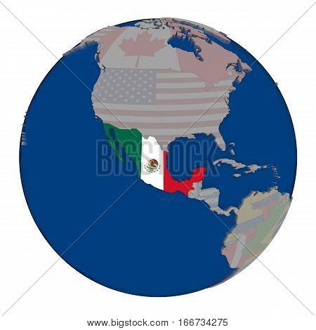 Mexico On Political Globe