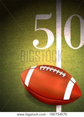 American Football Sitting On Turf Field Illustration