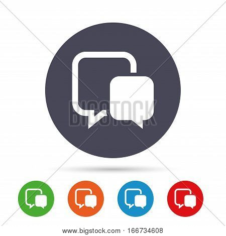 Chat sign icon. Speech bubble symbol. Communication chat bubble. Round colourful buttons with flat icons. Vector