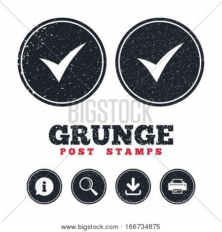 Grunge post stamps. Check sign icon. Yes symbol. Confirm. Information, download and printer signs. Aged texture web buttons. Vector