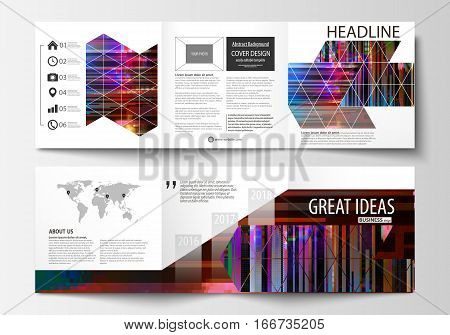 Business templates for tri fold brochures. Square design. Leaflet cover, abstract vector layout. Glitched background made of colorful pixel mosaic. Digital decay, signal error, television fail. Trendy glitch backdrop.