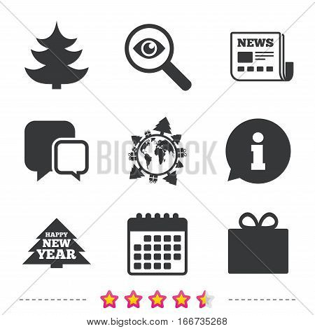 Happy new year icon. Christmas trees and gift box signs. World globe symbol. Newspaper, information and calendar icons. Investigate magnifier, chat symbol. Vector