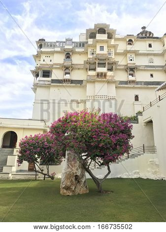 UDAIPUR INDIA - JANUARY 14 2017: RAAS Devigarh Hotel. Nestled in the Aravalli Hills of the Udaipur area an 18th century palace has spectacular views of the valley.