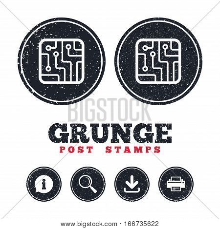 Grunge post stamps. Circuit board sign icon. Technology scheme square symbol. Information, download and printer signs. Aged texture web buttons. Vector