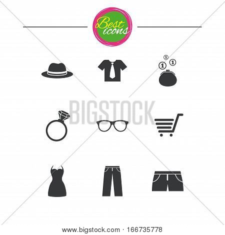 Clothes, accessories icons. Shirt, glasses and hat signs. Wallet with cash coins symbols. Classic simple flat icons. Vector