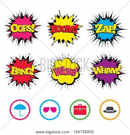 Comic Wow, Oops, Boom and Wham sound effects. Clothing accessories icons. Umbrella and sunglasses signs. Headdress hat with business case symbols. Zap speech bubbles in pop art. Vector