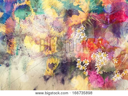 Abstract watercolor painting combined with field and sunflower flowers on paper texture - floral grunge