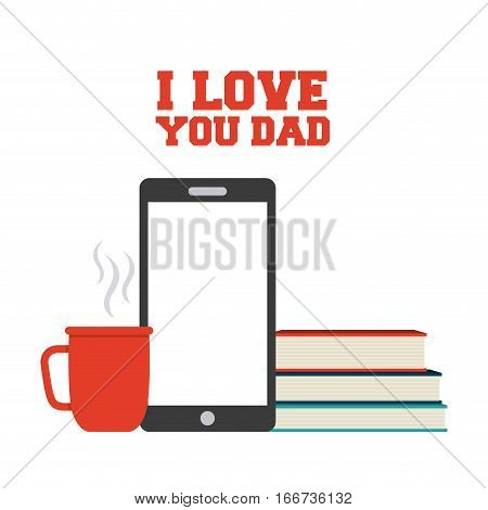 happy father's day card with books, coffee mug and smartphone icons. colorful design. vector illustration