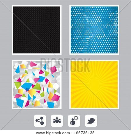 Carbon fiber texture. Yellow flare and abstract backgrounds. Group of people and share icons. Speech bubble symbols. Communication signs. Flat design web icons. Vector