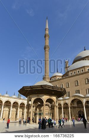 CAIRO, EGYPT - MARCH 12, 2016: Fountain of the Mohammed Ali Mosque in Cairo, Egypt.
