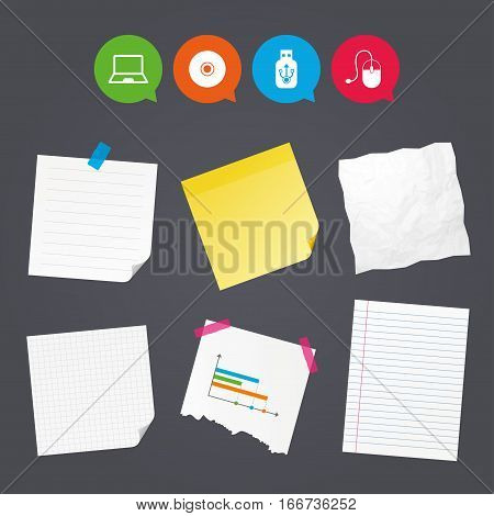 Business paper banners with notes. Notebook pc and Usb flash drive stick icons. Computer mouse and CD or DVD sign symbols. Sticky colorful tape. Speech bubbles with icons. Vector
