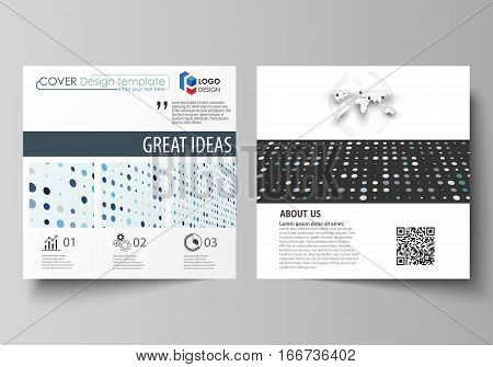 Business templates for square design brochure, magazine, flyer, booklet or annual report. Leaflet cover, abstract flat layout, easy editable vector. Abstract soft color dots with illusion of depth and perspective, dotted technology background. Multicolore