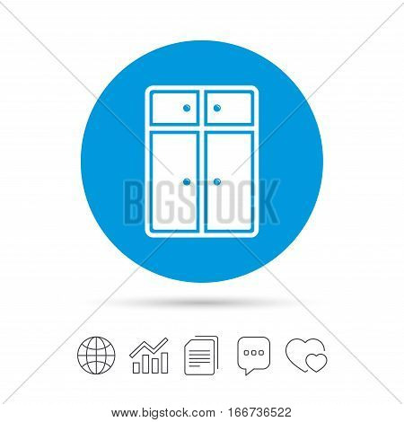 Cupboard sign icon. Modern furniture symbol. Copy files, chat speech bubble and chart web icons. Vector