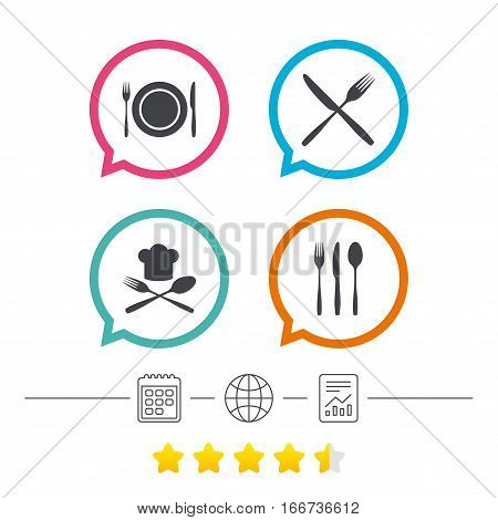 Plate dish with forks and knifes icons. Chief hat sign. Crosswise cutlery symbol. Dining etiquette. Calendar, internet globe and report linear icons. Star vote ranking. Vector