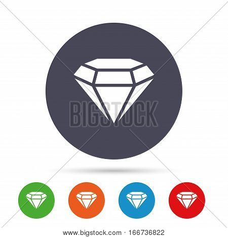 Diamond sign icon. Jewelry symbol. Gem stone. Round colourful buttons with flat icons. Vector
