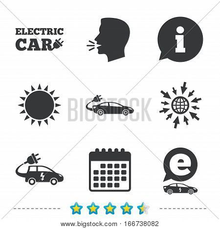 Electric car icons. Sedan and Hatchback transport symbols. Eco fuel vehicles signs. Information, go to web and calendar icons. Sun and loud speak symbol. Vector