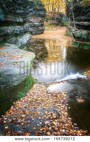 Fall Leaves At Pewits Nest, Baraboo, Wisconsin, Usa