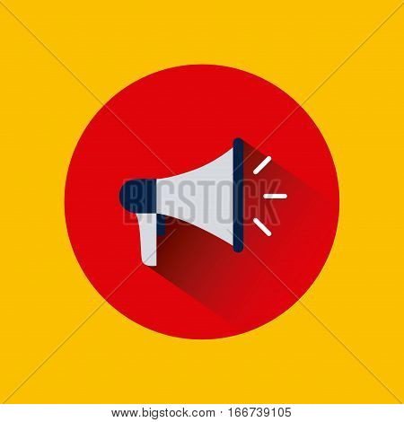 megaphone device icon over red circle and yellow background. colorful design. vector illustration