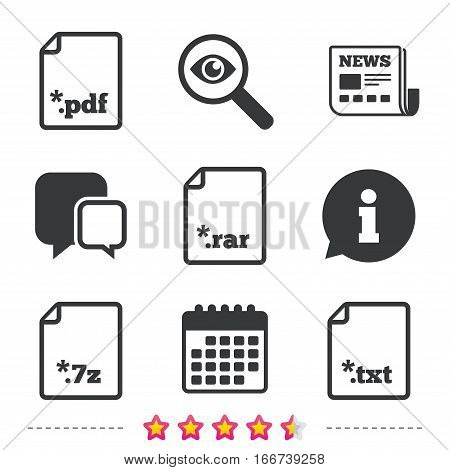 Download document icons. File extensions symbols. PDF, RAR, 7z and TXT signs. Newspaper, information and calendar icons. Investigate magnifier, chat symbol. Vector
