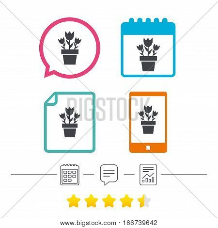 Flowers in pot icon. Bouquet of roses. Macro sign. Calendar, chat speech bubble and report linear icons. Star vote ranking. Vector