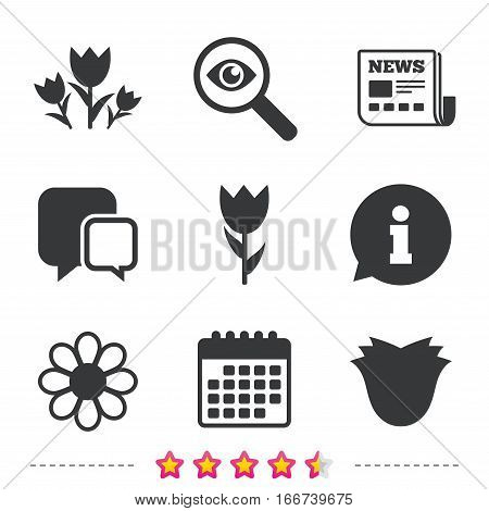 Flowers icons. Bouquet of roses symbol. Flower with petals and leaves. Newspaper, information and calendar icons. Investigate magnifier, chat symbol. Vector