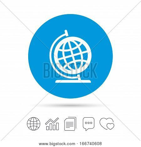 Globe sign icon. Geography symbol. Globe on stand for studying. Copy files, chat speech bubble and chart web icons. Vector