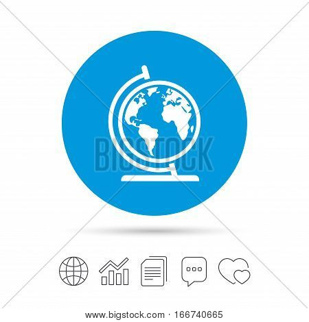 Globe sign icon. World map geography symbol. Globe on stand for studying. Copy files, chat speech bubble and chart web icons. Vector