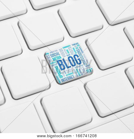 Blog word concept cloud in button or key on white keyboard