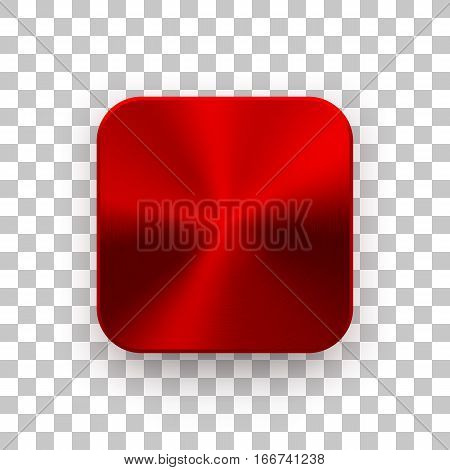 Red metal blank app icon, technology button template with circular brushed texture, chrome, steel, copper and realistic shadow for design concepts, web sites, interfaces, applications, apps. Vector.
