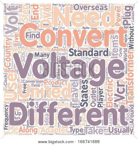 How to Select a Voltage Converter for Your Next Trip Overseas text background wordcloud concept