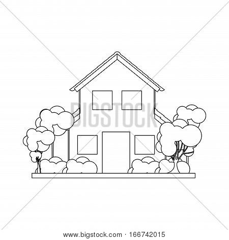 silhouette house with two floors and trees vector illustration