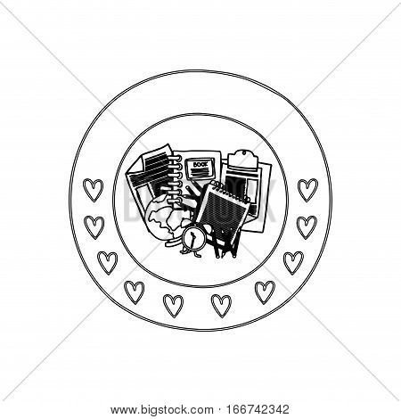 silhouette circular border with hearts and study tools vector illustration
