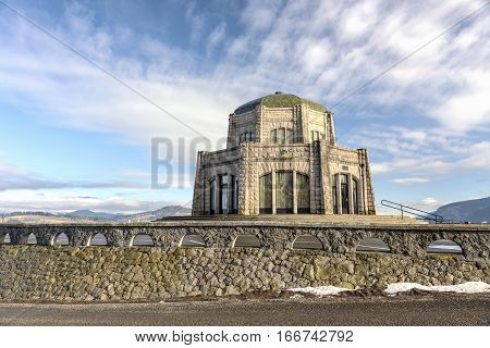 Vista House architecture and surroundings in Oregon.