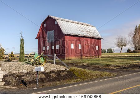 Old barn on a roadside in rural Oregon.