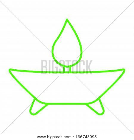 Simple green thinline aroma therapy icon vector