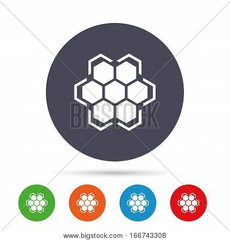 Honeycomb sign icon. Honey cells symbol. Sweet natural food. Round colourful buttons with flat icons. Vector