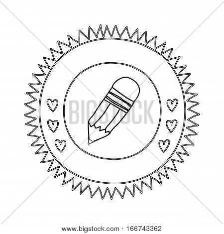 silhouette sun shape with hearts and small pencil with eraser vector illustration