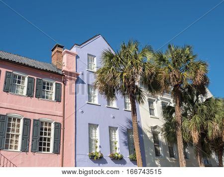 Colorful Rainbow Row in historic Charleston, South Carolina