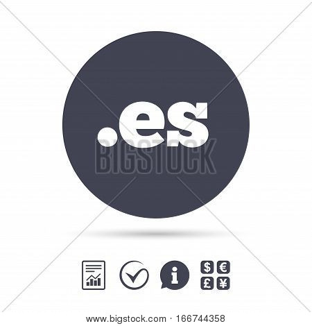 Domain ES sign icon. Top-level internet domain symbol. Report document, information and check tick icons. Currency exchange. Vector