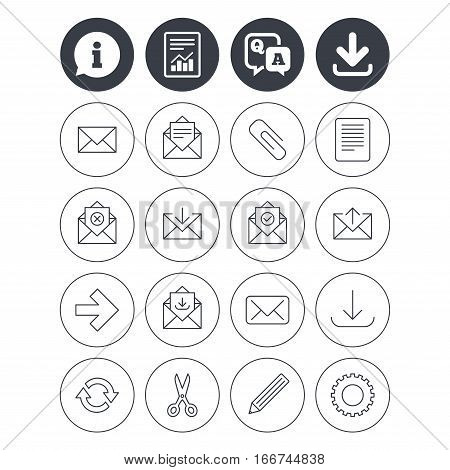 Information, download and report signs. Mail services icons. Send mail, paper clip and download arrow symbols. Scissors, pencil and refresh thin outline signs. Receive, select and delete mail. Vector