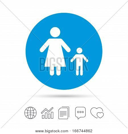 One-parent family with one child sign icon. Mother with son symbol. Copy files, chat speech bubble and chart web icons. Vector