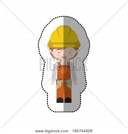 sticker avatar worker with toolkit and helmet vector illustration