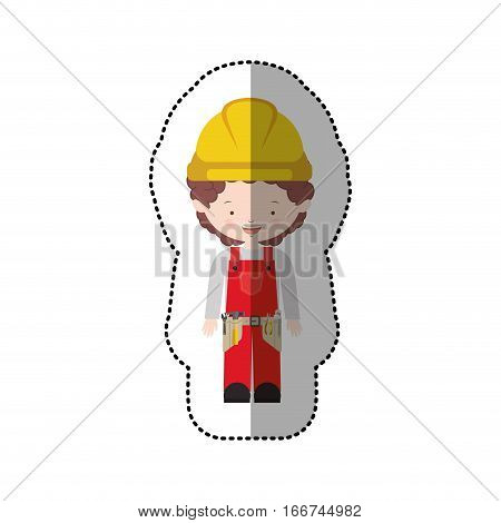 sticker avatar worker with toolkit and curly hair vector illustration