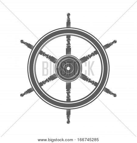 Vintage marine steering wheel isolated Vector Illustration